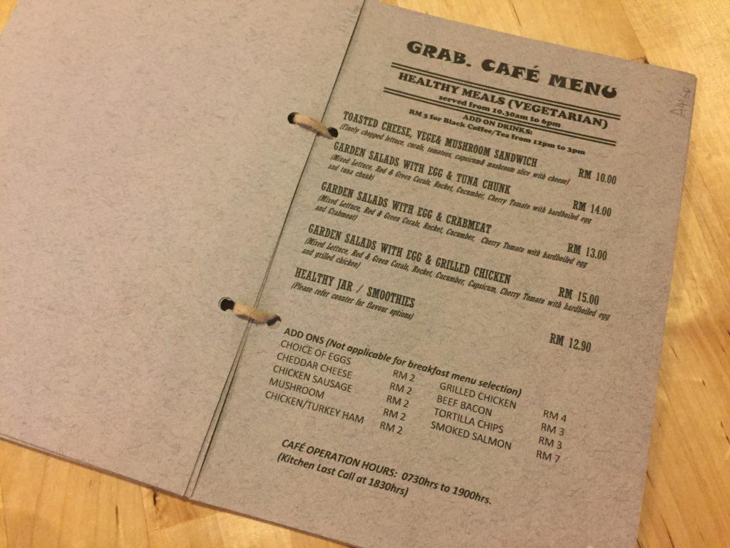 Grab Cafe Menu Kuala Lumpur